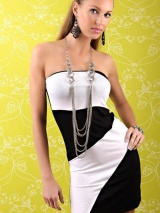 Черно-белое платье без лямок ( L2444-1)