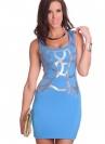 Голубое платье без рукавов (1-3014)