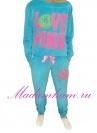 Велюровый костюм Love Pink голубой классика (1012-3)
